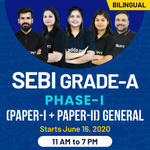 SEBI-GRADE A-Phase 1(Paper 1+ Paper 2) General | Bilingual | Live Classes