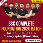 SSC Complete Foundation 2020 Batch for CGL,CPO,CHSL and Stenographer (Pre+Mains)| Bilingual | Live Class
