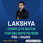 Lakshya Online live classes for SBI/IBPS PO/RRB Pre + Mains | Bilingual Complete Batch