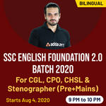 SSC CGL, CHSL, CPO and Stenographer English exams 2020 for (Pre+Mains) | Complete Bilingual Foundation 2.0 batch