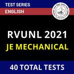 Rajasthan Rajya Vidyut Utpadan Nigam Limited JE Mechanical 2021 Online Test Series