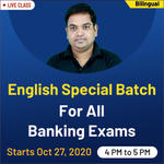 Special Batch of ENGLISH FOR BANKING EXAM 2020| Bilingual Live Class