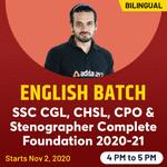 ENGLISH FOR SSC CGL,CHSL,CPO & Stenographer 2020-21 | Complete Foundation Batch | Bilingual Live Class