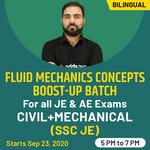 """ Fluid mechanics Concepts Boost-UP batch for all JE & AE Exams "" Civil + mechanical (SSC JE) | Bilingual | Live Class"