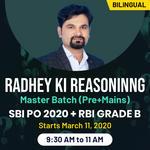 Radhey ki Reasoning Master BatchSBI PO 2020 Pre Plus Mains and RBI Grade BBy Radhey SirSuper Educator Bilingual Live Classes