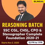 REASONING FOR SSC CGL, CHSL CPO and Stenographer 2020-21 | Complete Foundation Batch | Bilingual Live Class