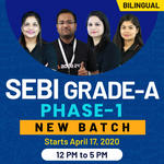 SEBI-GRADE A-Phase 1-Paper 1 + Paper 2 (General)  Bilingual New Live Classes