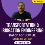 Transportation &  Irrigation Engineering batch for SSC JE | Bilingual | Live Class
