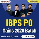 IBPS PO MAINS 2020 ONLINE COACHING | Bilingual Live class