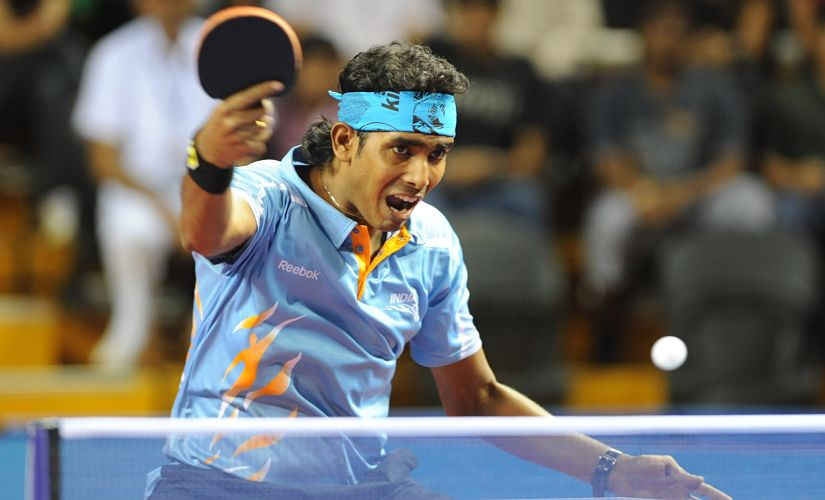 Sharath Kamal in action while international tour