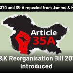 Art - 370 and Art -35-A revoked from J&K by GOI