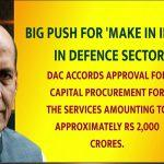 DAC approves Capital Procurement of Rs 2,000 crores