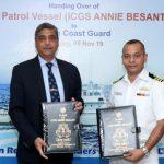 GRSE delivers fast patrol vessel, 'Annie Besant' to Indian Coast Guard