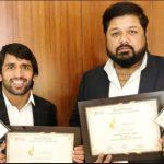 Bajrang Punia, Mahant Gaurav Sharma honoured in Dubai