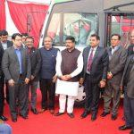Petroleum Minister unveils India's first long distance CNG bus