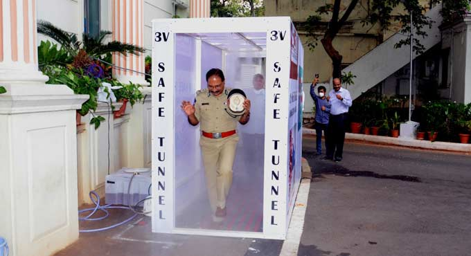 'V Safe Tunnel' installed in Telangana to sanitize people_40.1