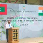 India hands over outdoor fitness equipment to Maldives