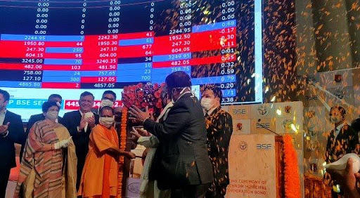 Yogi Adityanath rings bell at BSE for listing bond of LMC_40.1