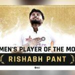 Rishabh Pant wins inaugural ICC Player of the Month January 2021