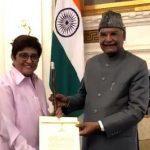 President Ram Nath Kovind presents Baton of Honor to Kiran Bedi