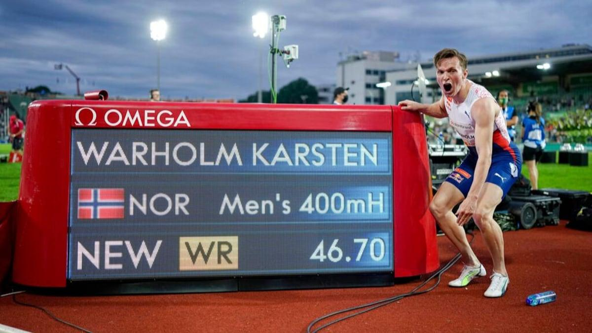 Norway's Karsten Warholm breaks men's 400 metres hurdles world record_40.1