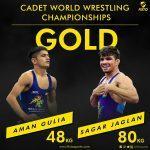 Aman Gulia and Sagar Jaglan become cadet world champions