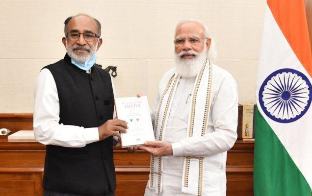 A book title 'Accelerating India: 7 Years of Modi Government' by K J Alphons_40.1